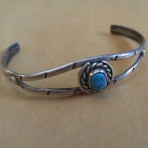 Vintage Boho Sterling Silver Turquoise Bracelet